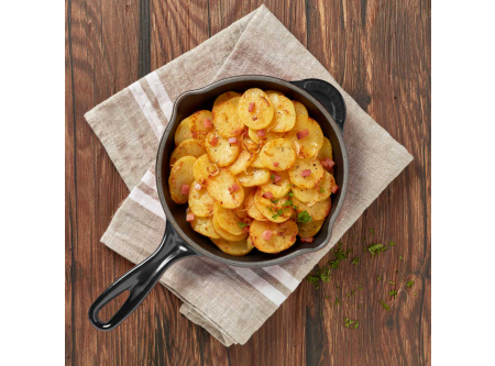 Bratkartoffeln mit Katenspeck und Zwiebeln