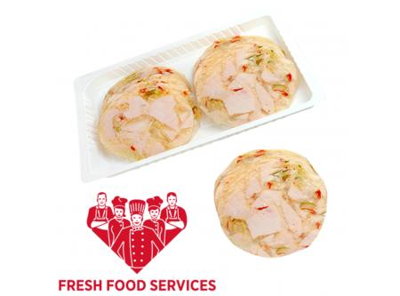 Hähnchenfleisch gewürfelt, mit Paprika in Aspik