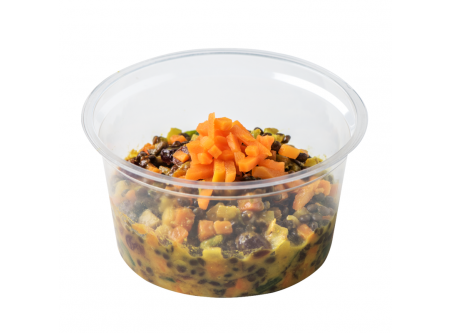 BIO Beluga Linsensalat mit Curry-Orangen-Dressing