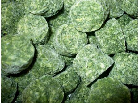 Spinat gehackt in Portionen