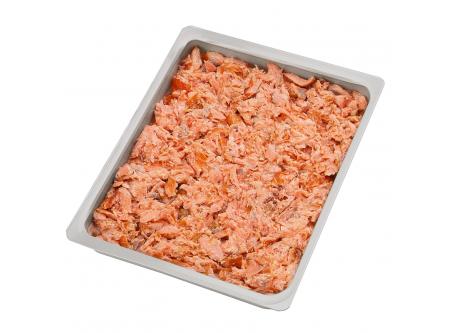Pulled Salmon Lachsfleisch heißgeräuchert und stückig zerteilt, ohne Haut