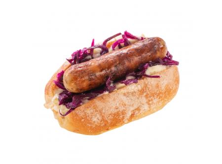 """MINI HOT DOG """"Classic"""" mit Remoulade, Apfel-Rotkraut- salat und Rostbratwürstchen"""