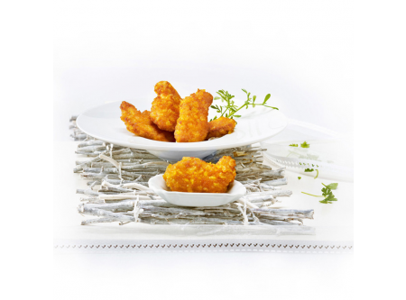 Hähnchenecken, aus Fleischstücken zusammengefügt, mit 8 % Flüssigwürzung, paniert und frittiert