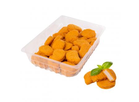 Hähnchenformnuggets aus zerkleinertem Geflügelfleisch geformt, paniert und gebraten