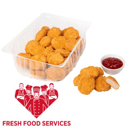 Chicken Nuggets Hähnchenfleisch zerkleinert, geformt, würzig paniert und gebraten
