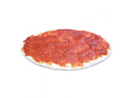 Pizzazunge mit Tomatensauce halbgebacken