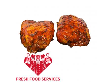 Hähnchenkeulensteaks Smoky BBQ, mit Haut und 9% Flüssigwürzung