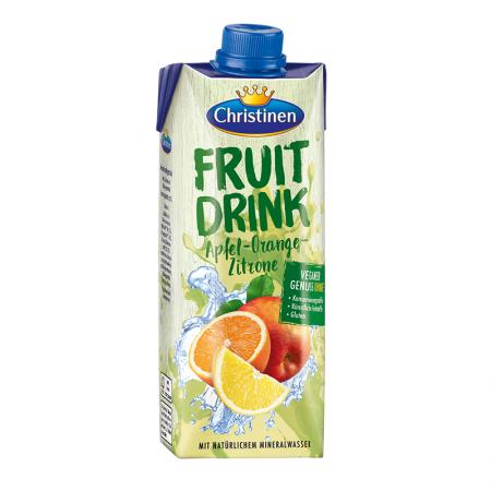 Fruit Drink Apfel Orange Zitrone, Erfrischungsgetränk, mit Zucker und Süßungsmittel